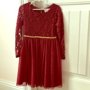 Youngland burgundy lace and tulle dress